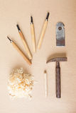 Wood tools arranged top view Stock Images