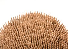 Wood toothpicks isolated on a white background. Royalty Free Stock Photography