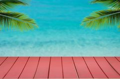 Wood top table sea and beach. Wood top table Abstract blur Landscape and blue sea waves.as background. Can be used for display or montage your products stock photography