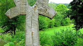 Wood totem in forest 2 stock footage