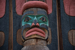 Wood totem pole in Duncan British Columbia Canada. Carved wooden totem pole in Duncan British Columbia Canada Royalty Free Stock Images