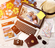 Wood tourist's desk in high definition with laptop, tablet and m Royalty Free Stock Images