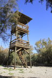 Wood tower at Ein Fashkha, Einot Tzukim Natural Reserve Oasis in the Holy Land Royalty Free Stock Photo
