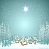Wood town in the winter forest christmas background Royalty Free Stock Photography