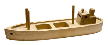 Wood toy boat Stock Photos