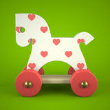 Wood toy horse on green background. 3D Stock Images
