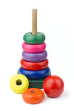 Wood toy pyramid Stock Images