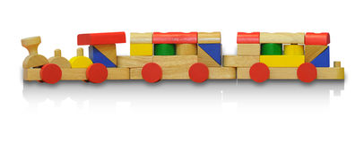 Wood toy train. Wooden railway toys isolated on white background with clipping path stock photography