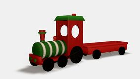 Wood toy train. Isolated on white background. Isometric view. 3D render Royalty Free Stock Photo