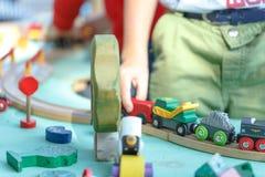 Wood toy train set Stock Images