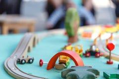 Wood toy train set Stock Photos