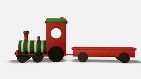 Wood toy train. On white background. Isometric view. 3D render Royalty Free Stock Photography