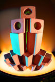 Wood toy bricks in colored light Royalty Free Stock Photo