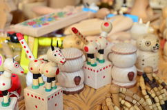 Wood toys for sale on a market Royalty Free Stock Photography