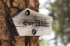 Wood Trail Sign Stock Photos