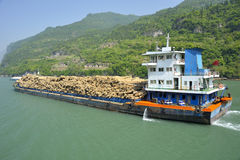 Wood transport. On Yangtze river royalty free stock images