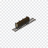 Wood Transporting Isometric. Lumber Shipping Vector Element Can Be Used For Wood, Wagon, Lumber Design Concept.   Wood Transporting Isometric Royalty Free Stock Photography