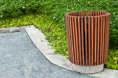 Wood trash bin Stock Photo