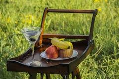 Wood Tray With Wheels And Fruits i naturen Royaltyfri Fotografi