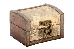 Wood Trinket Box with Leather Covering and Brass Clasp Royalty Free Stock Photos
