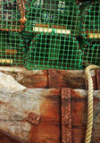 Wood trunks supporting fishing traps Stock Images