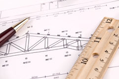 Wood truss diagram royalty free stock photography