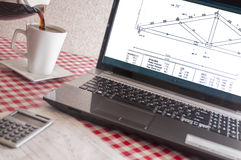 Wood truss diagram,laptop,computer, Royalty Free Stock Photography