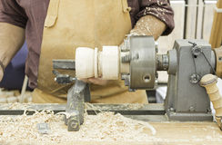 Wood turner. Crafting, carpentry and joiner Stock Photos