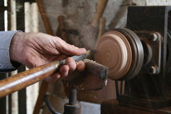 Wood turning Stock Photo