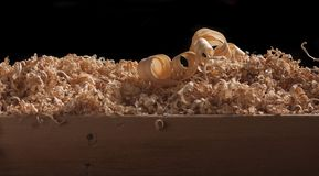 Wood turning shavings Royalty Free Stock Photo