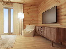 Wood TV console with a comfortable white armchair and a floor la Royalty Free Stock Image