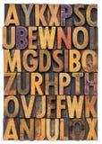 Wood typalfabet Arkivfoton