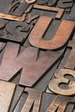 Wood type 3. An assortment of old wooden and metal type blocks Stock Photo