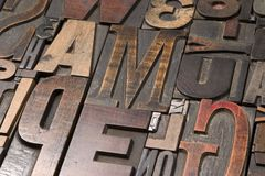 Wood type 4. An assortment of old wooden and metal type blocks Stock Photography