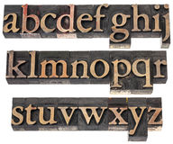 Wood type alphabet in letterpress printing blocks Royalty Free Stock Photos