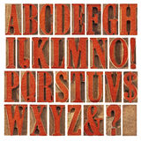 Wood type alphabet stained by red. Alphabet in modern letterpress wood type printing blocks stained by red ink,  a collage of 26 isolated letters, question mark Stock Photography