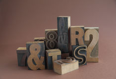 Wood type with ampersands Royalty Free Stock Photos