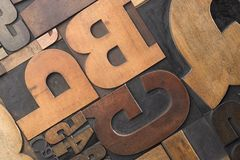 Wood type close-up. Close-up of letterpress letters and numerals Stock Photo