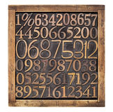 Wood type numbers in box Royalty Free Stock Images