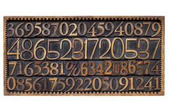 Wood type numbers in a box Stock Photos
