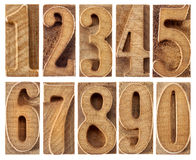Wood type numbers isolated Royalty Free Stock Photography