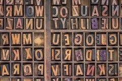 Wood type printing blocks background. Vintage letterpress wood type printing blocks  in a grunge typesetter drawer Stock Image
