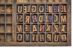 Wood type printing blocks. Vintage letterpress wood type printing blocks  in a grunge typesetter drawer Royalty Free Stock Image