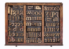 Wood type in typesetter box Royalty Free Stock Photo