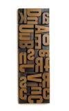 Wood typography. Wood type set isolated on white background Stock Photos