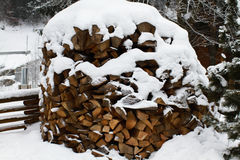 Wood under snow. Firewood for the winter. Chopped drovav folded. Royalty Free Stock Photos