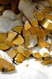 Wood under snow Royalty Free Stock Photo