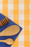 Wood utensils at table napkins Royalty Free Stock Photos