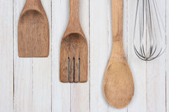 Wood Utensils Whisk Stock Photo