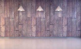 Wood vägg och golv med lampor vektor illustrationer